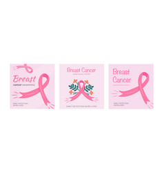 set of cards for breast cancer awareness vector image