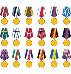 set of national medals vector image