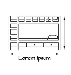 Side View flat of bunk bed vector image
