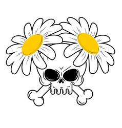 Skull and flowers Bones in camomiles Death and vector image