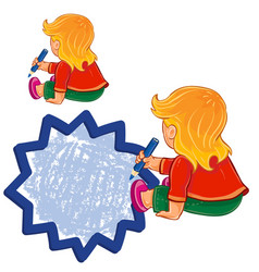 Small girl draw a speech bubble vector