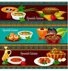 Spanish cuisine restaurant dinner banner set vector