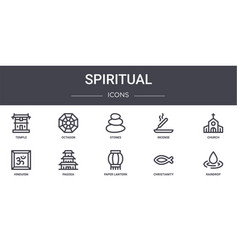 Spiritual concept line icons set contains icons vector