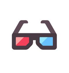 stereoscopic vision glasses 3d cinema flat icon vector image
