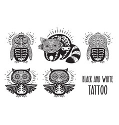 sugar skulls black and white tattoo vector image