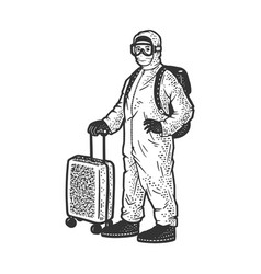 Tourist in protective medical suit sketch vector