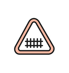 train road attention sign railroad tracks flat vector image