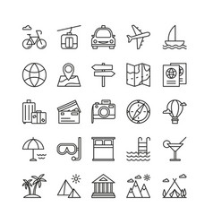 traveling and recreation linear icons set vector image