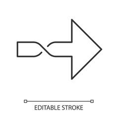 Twisted arrow linear icon direction arrowhead vector