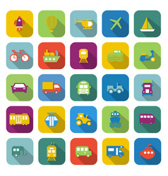 Vehicle color icons with long shadow vector