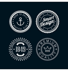 Vintage badges white 3 vector