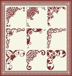 Vintage design elements corners vector image
