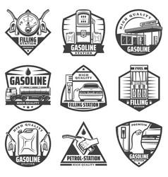Vintage monochrome petrol station labels set vector