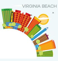 virginia beach skyline with color buildings blue vector image