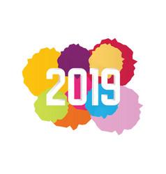 watercolor happy new year 2019 text design vector image