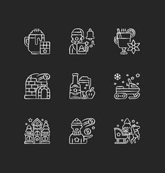 Winter season vacation chalk white icons set vector