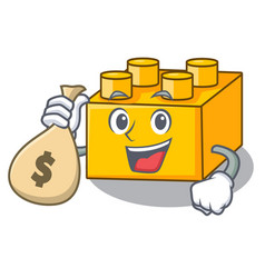 With money bag plastic building blocks cartoon on vector