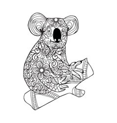 Zentangle style koala Black white hand drawn vector image