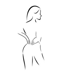 Abstract drawing of a woman massaging her back vector image vector image