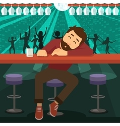 Drunk man asleep at bar vector image