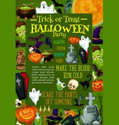 halloween pumpkin poster for horror night party vector image vector image
