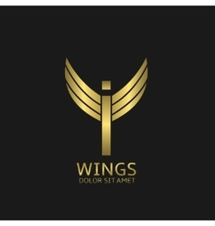 Wings I letter logo vector image vector image