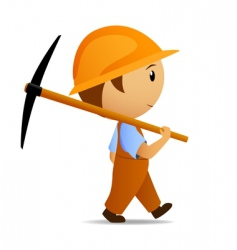cartoon digger with pick vector image vector image