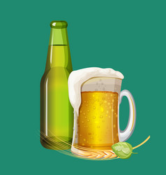 green beer bottle and frothy drink in glass mug vector image vector image