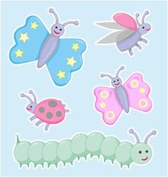 Happy little beetles butterflies and caterpillar vector image vector image