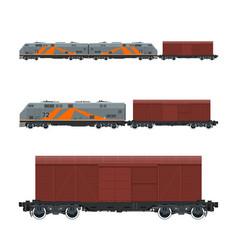 Locomotive with closed wagon on railroad platform vector