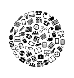office icons in circle vector image