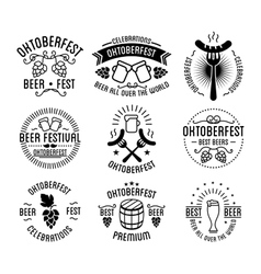 Oktoberfest beer festival lettering typography set vector image
