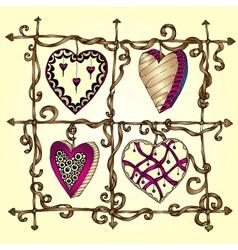 Original drawing doodle hearts vector image vector image