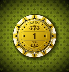 Poker chip nominal one on card symbol background vector image vector image