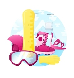 set of detailed flat snowboarding equipment vector image vector image