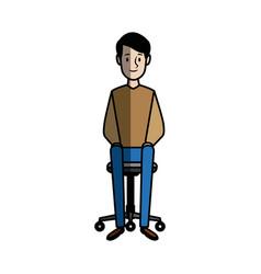 Young relaxed sitting in an office chair vector