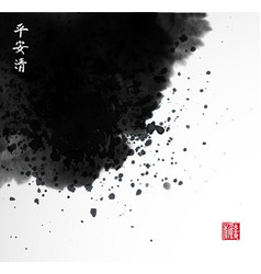 abstract black ink wash painting in east asian vector image