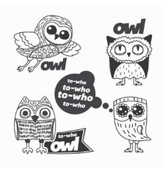 Owls design elements vector image
