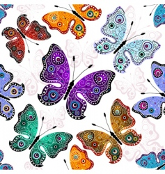 seamless white pattern with butterflies vector image