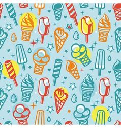 Seamless pattern with cartoon ice cream vector
