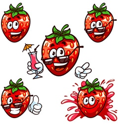 set cartoon character - Happy strawberry vector image vector image