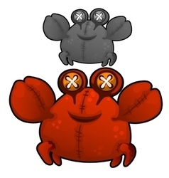 Soft toy fat red crab with eyes buttons vector image vector image