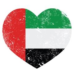 The United Arab Emirates retro heart shaped flag vector image vector image