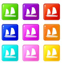 vietnamese junk boat icons 9 set vector image