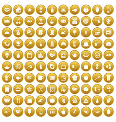 100 cooking icons set gold vector
