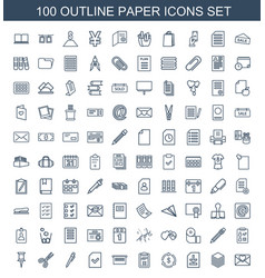 100 paper icons vector