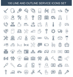 100 service icons vector