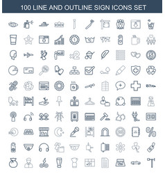 100 sign icons vector