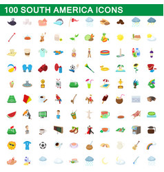 100 south america icons set cartoon style vector image vector image