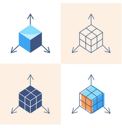 3d object modeling concept icon set in flat and vector image
